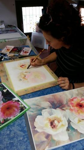 Prima lezione con la nuova insegnante Elena Brazzale all'Accademia dell'acquerello 11 ottobre 2017 Padova